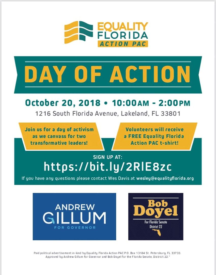 Day of Democratic Action! Saturday, October 20, 2018