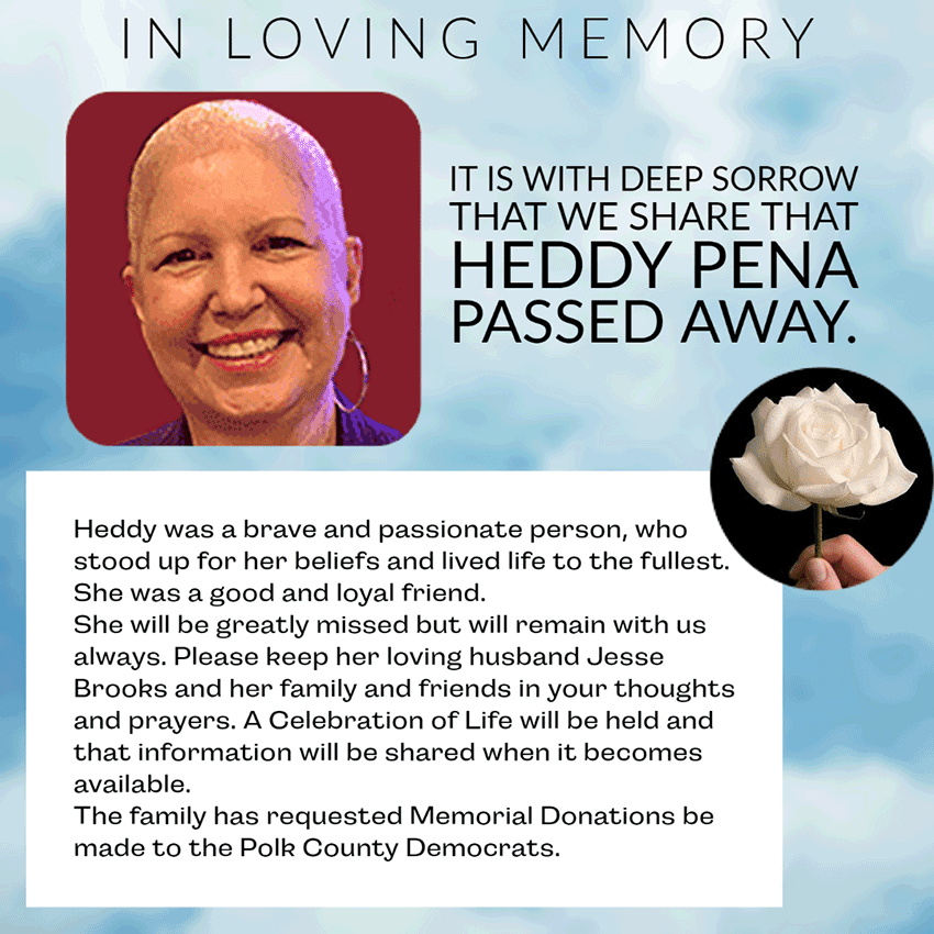 Remebering Heddy Peña, please donate in her memory.