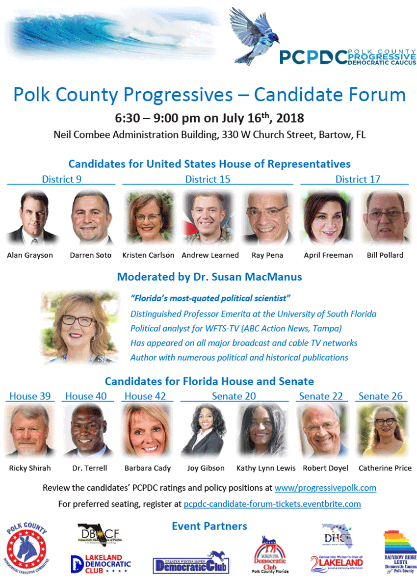 PCPDC Candidate Forum, July 16th in Bartow