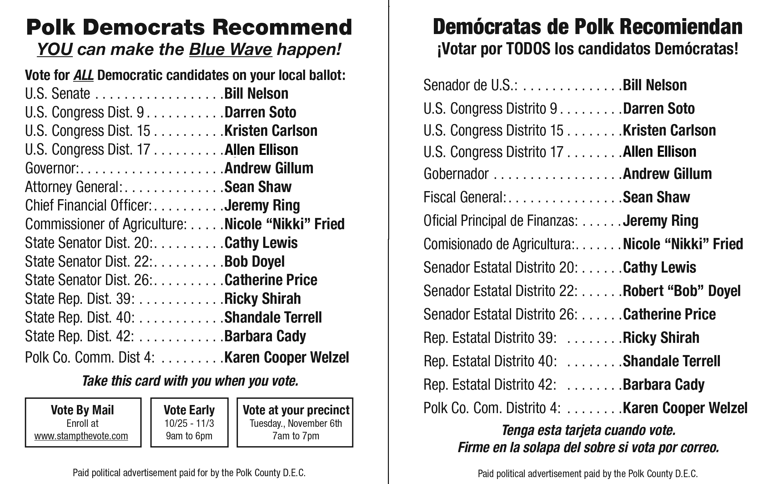 Polk County Democrats recommed these outstanding candidates