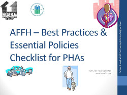Best Practices & Essential Policies Checklist for PHAs